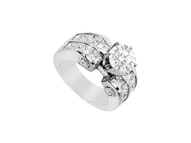 Engagement Ring Round and Princess Cut Cubic Zirconia in 14K White Gold 3.65 Carat TGW