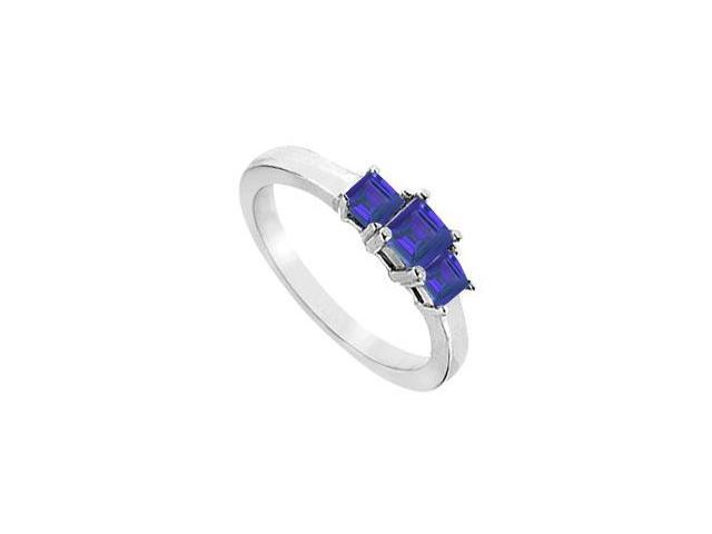 Created Sapphire Three-Stone Ring in Sterling Silver 2.00 ct. t.w.