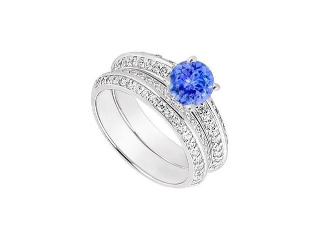 14K White Gold Tanzanite  Diamond Engagement Ring with Wedding Band Sets 1.00 CT TGW