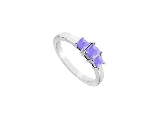 Created Tanzanite Three-Stone Ring in Sterling Silver 2.00 ct. t.w.
