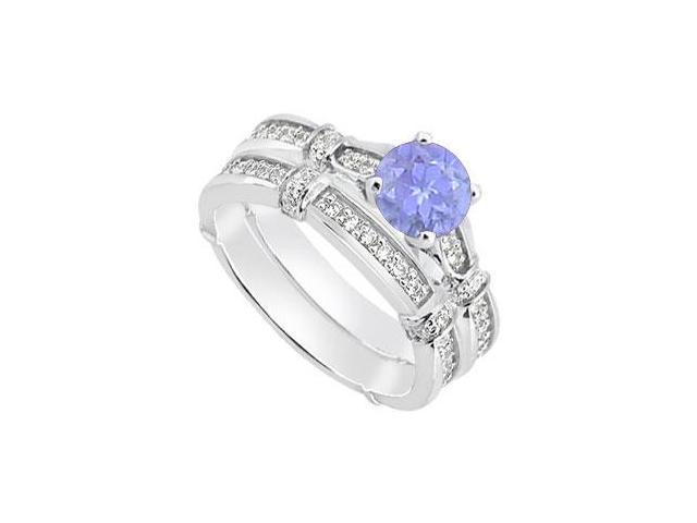 14K White Gold Tanzanite Engagement Ring and Diamond Wedding Rings of 0.95 Carat TGW