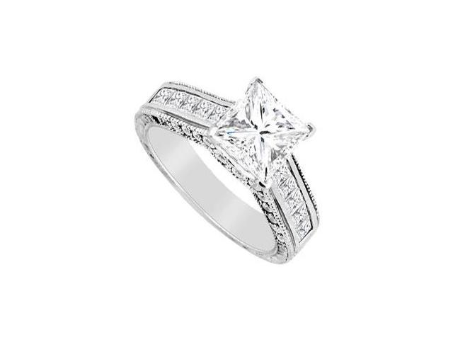 Engagement Ring Cubic Zirconia Round and Princess Cut in 14K White Gold 2.00 Carat TGW
