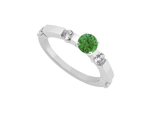 May Birthstone Emerald and CZ Engagement Ring in Sterling Silver 0.90 CT TGW
