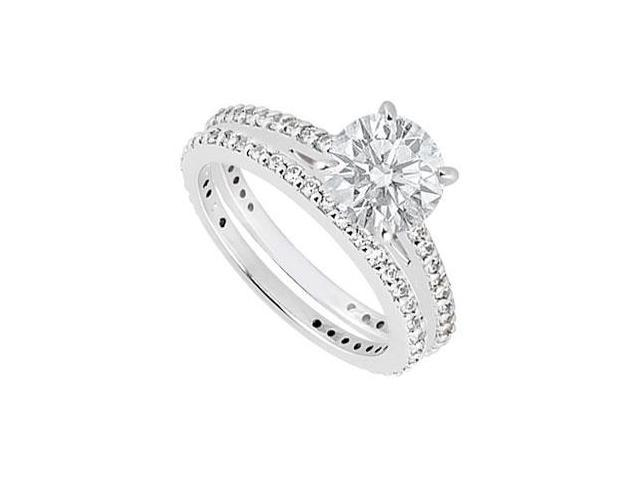 14K White Gold Diamond Engagement Ring with Wedding Band Sets 1.25 CT TDW