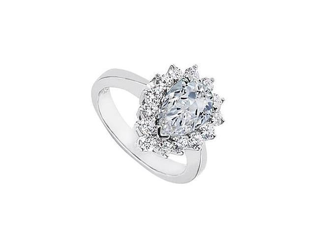Fashion Ring in 10K White Gold with Cubic Zirconia Pear Shaped 1.85 Carat Total Gem Weight