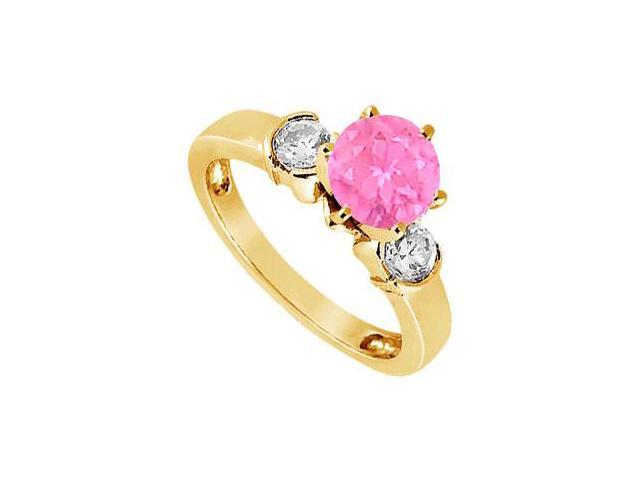 Created Pink Sapphire and Cubic Zirconia Ring in 18K Yellow Gold Vermeil 1.50.ct.tw