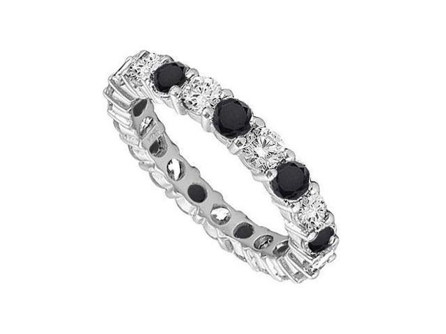 14K White Gold  Pure Black Natural onyx and Cubic Zirconia Eternity Band 7.00 CT TGW