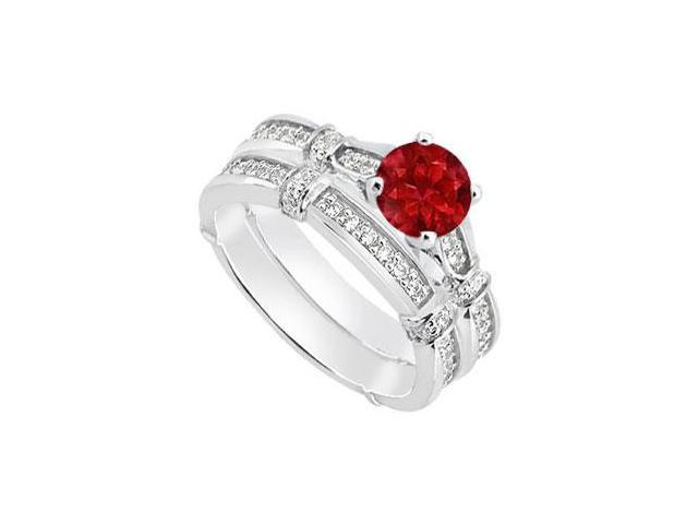Natural Ruby Engagement Ring and Diamond Wedding Band Sets in White Gold 14K 0.95 Carat TGW