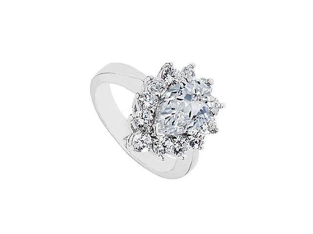 Cubic Zirconia Ring in 10K White Gold 3.95 Carat Total Gem Weight