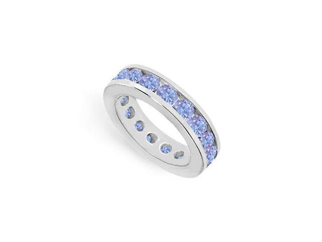 Nine Carat Eternity Rings Channel Set Created Tanzanite Over 925 Sterling Silver