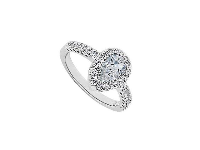 10K White Gold Ring with Cubic Zirconia Pear Shaped 1.85 Carat Total Gem Weight