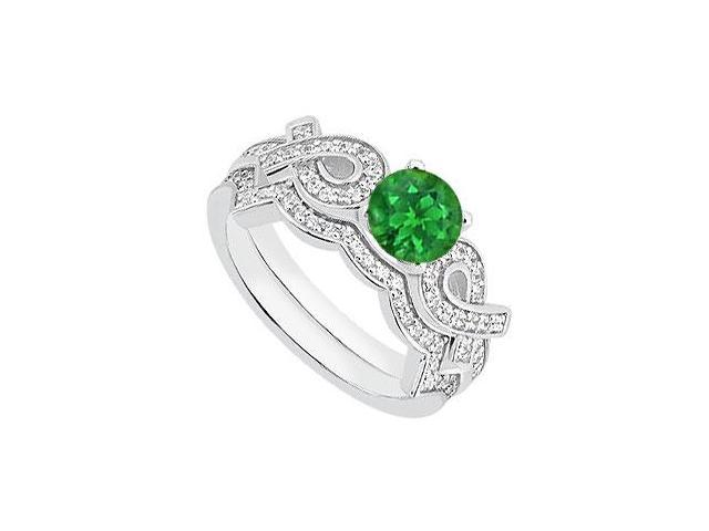 14K White Gold Ribbons Natural Emerald Engagement Ring with Diamond Band Sets of 1.10 Carat TGW
