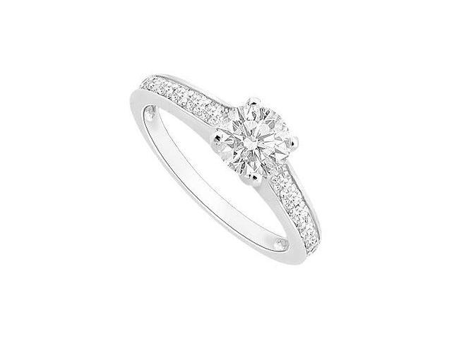 Engagement Ring of Cubic Zirconia Set in 14K White Gold 0.75 Total Gem Weight