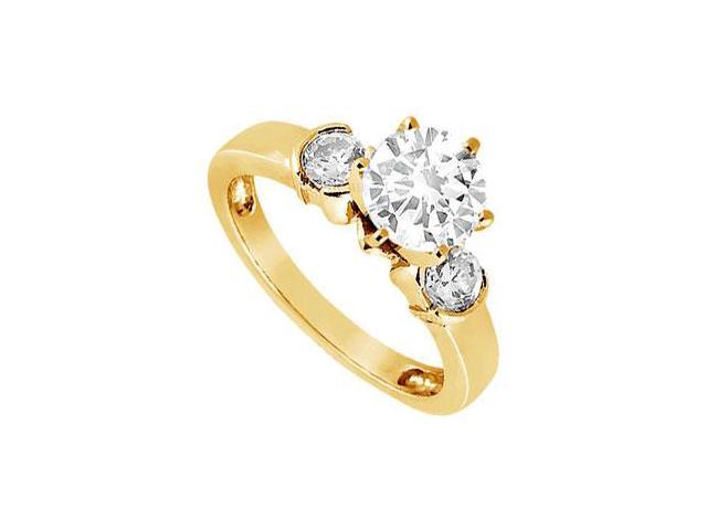 CZ Three-Stone Ring in 18K Yellow Gold Vermeil 1.50 ct. t.w.