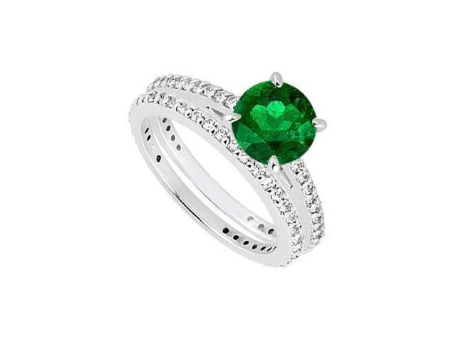14K White Gold Emerald  Diamond Engagement Ring with Wedding Band Sets 1.25 CT TGW