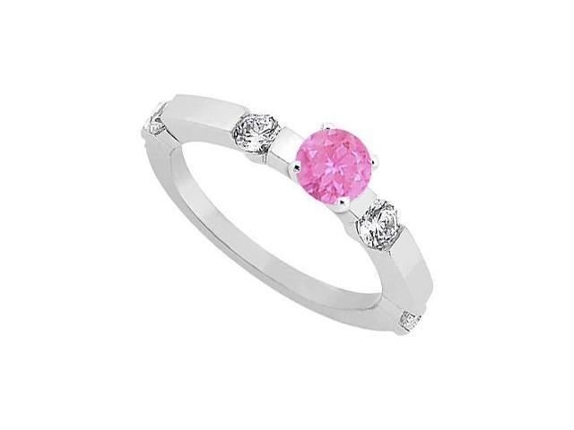 September Birthstone Pink Sapphire and CZ Engagement Ring in Sterling Silver 0.90 CT TGW