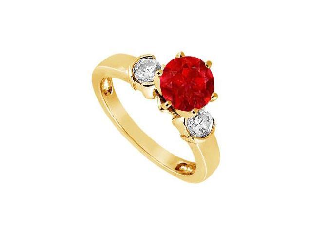 Created Ruby and Cubic Zirconia Ring in 18K Yellow Gold Vermeil 1.50.ct.tw
