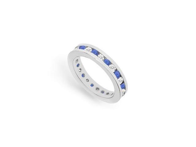 Eternity Ring CZ and Sapphire Created in 925 Sterling Silver Channel Set. 1CT. TGW.