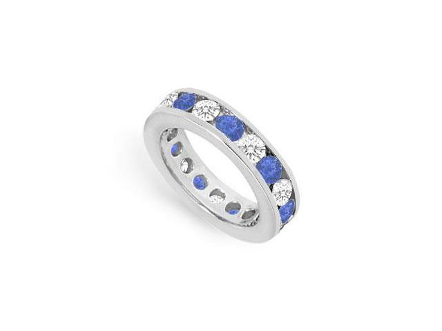 CZ Eternity Bands with Sapphire Created 3 Carat Channel Set in 925 Sterling Silver