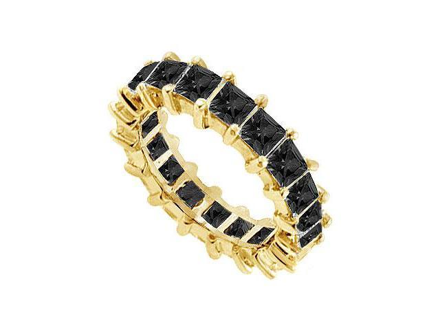 14K Yellow Gold  Pure Black Natural Onyx Prong Set Eternity Band 5.00 CT TGW