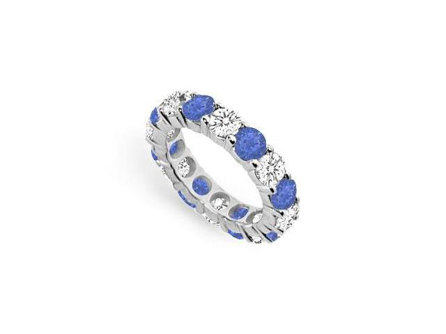 Created Sapphire and CZ Eternity Band in Sterling Silver Seven Carat TGW.
