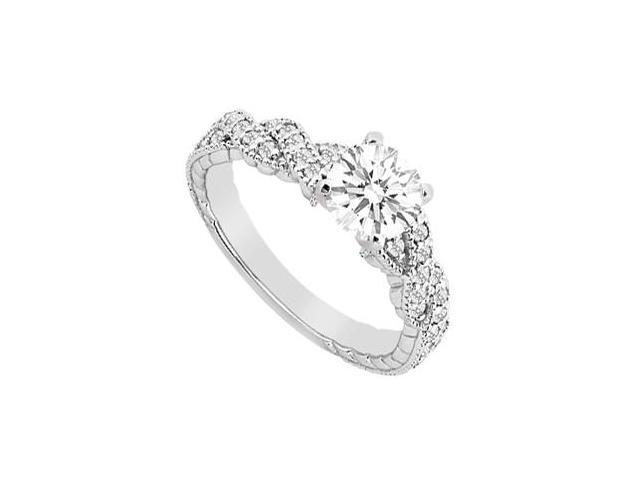 14K White Gold Crossover Cubic Zirconia Engagement Ring with 1.25 Carat TGW