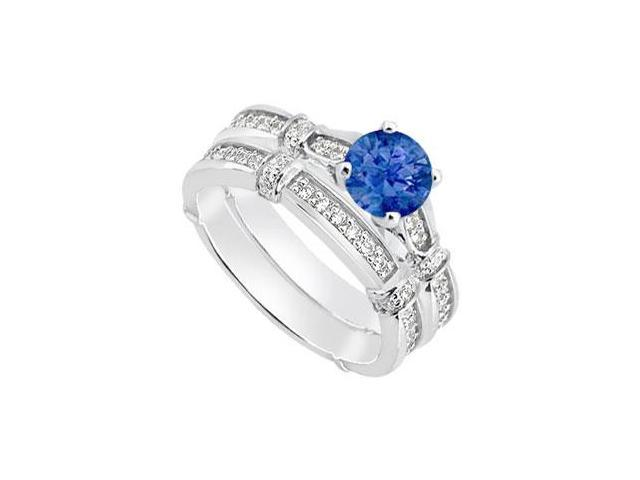 Blue Sapphire Engagement Ring Sets and Diamond Wedding Bands in 14K White Gold 0.95 Carat TGW
