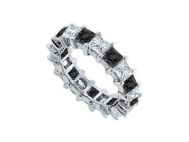 14K White Gold  Pure Black Natural Onyx and Cubic Zirconia Eternity Band 5.00 CT TGW