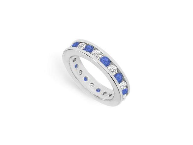 CZ Eternity Bands with Sapphire Created Two Carat in 925 Sterling Silver Channel Set