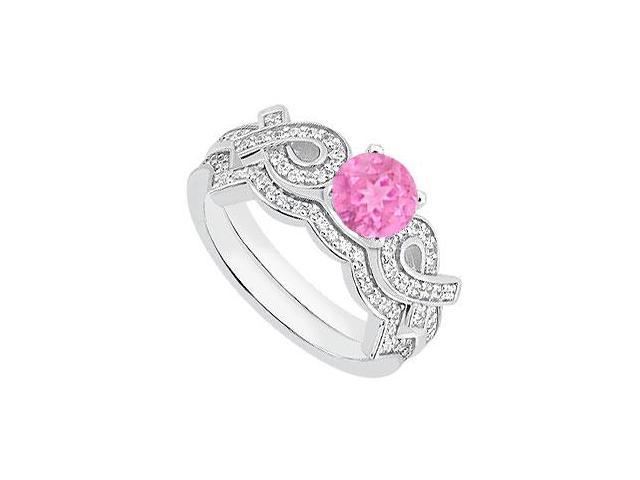 Pink Sapphire Engagement Ring with Diamond Wedding Band Sets in 14K White Gold 1.10 Carat TGW