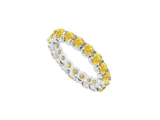 14K White Gold Yellow Sapphire Prong-Set Eternity Band 7.00 CT TGW