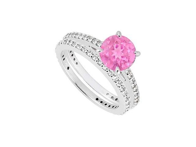 14K White Gold Pink Sapphire  Diamond Engagement Ring with Wedding Band Sets 1.25 CT TGW