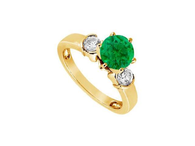 Created Emerald and Cubic Zirconia Ring in  18K Yellow Gold Vermeil 1.50.ct.tw