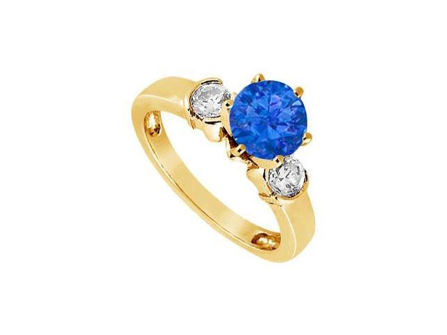 Created Sapphire and Cubic Zirconia Ring in 18K Yellow Gold Vermeil 1.50.ct.tw