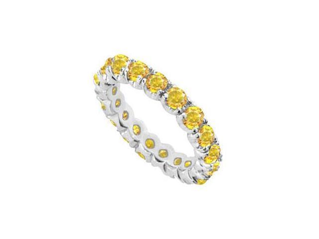 Yellow Sapphire Prong Set Eternity Band in 14K White Gold 10.00 Carat TGW