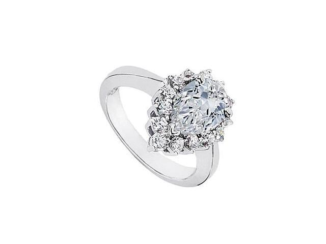 10K White Gold Pear Shape Cubic Zirconia Ring in 10K White Gold 1.75 Carat Total Gem Weight
