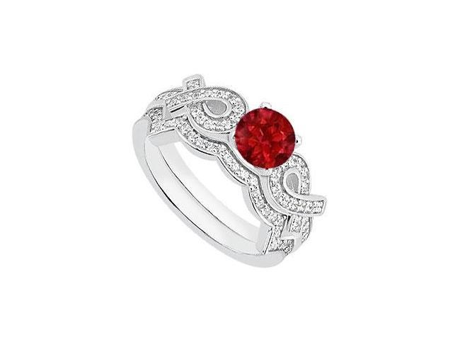Natural Ruby Engagement Ring in 14K White Gold Ribbons with Diamond Bands 1.10 Carat TGW