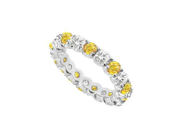 14K White Gold Yellow Sapphire and Cubic Zirconia Prong-Set Eternity Band 2.00 CT TGW
