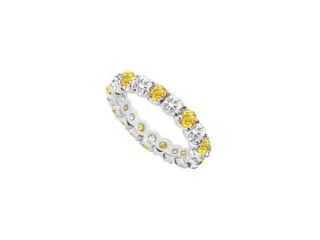 Yellow Sapphire and Cubic Zirconia Eternity Band in 14K White Gold 10.00 Carat TGW