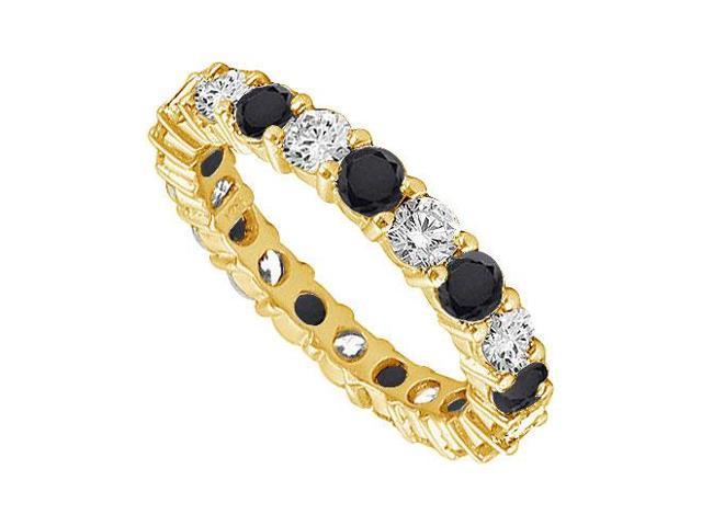 14K Yellow Gold  Pure Black Natural onyx and Cubic Zirconia Eternity Band 1.00 CT TGW