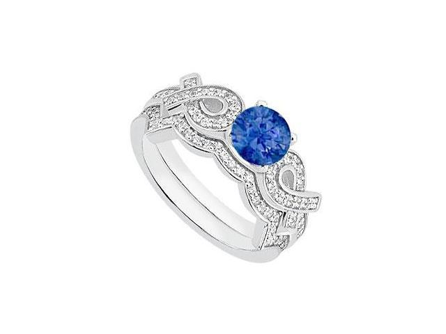 Ribbons 14K White Gold Blue Sapphire Engagement Ring with Diamond Wedding Rings 1.10 Carat TGW
