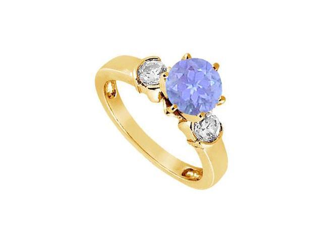 Created Tanzanite and Cubic Zirconia Ring in 18K Yellow Gold Vermeil 1.50.ct.tw