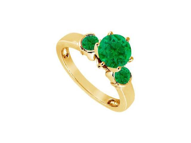 Created Emerald Three-Stone Ring in 18K Yellow Gold Vermeil 1.50 ct. t.w.