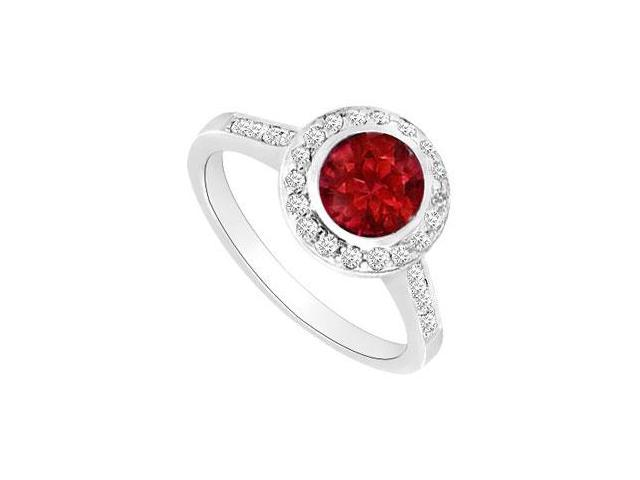 Ruby and Diamond Halo Engagement Ring  14K White Gold - 1.50 CT TGW