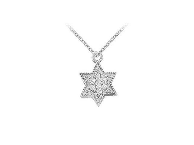 Cubic Zirconia Star Pendant in 14K White Gold 0.10 CT TGW with White Gold ChainPerfect Jewelry