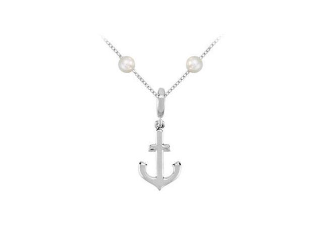 Sterling Silver Petite Anchor Charm Cultured Pearl Pendant