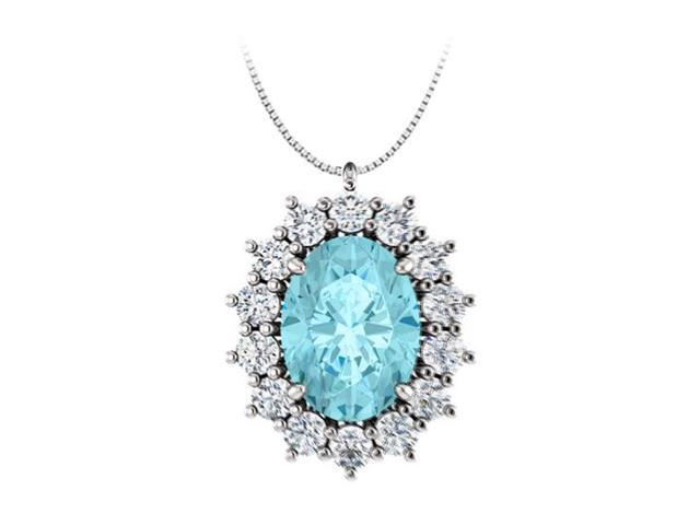 Oval Created Blue Topaz and CZ Halo Pendant in  925 Sterling Silver 1.25.ct.tgw