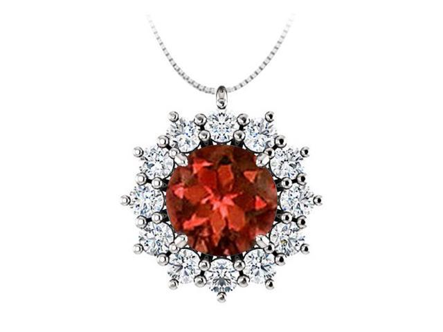 Round Garnet and CZ Halo Pendant in 925 Sterling Silver 1.25.ct.tgw