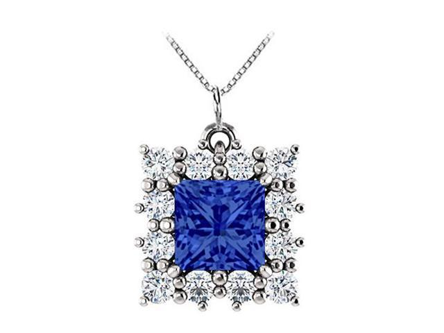 Square Halo CZ and Created Sapphire Pendant in 14kt White Gold 0.75.ct.tw