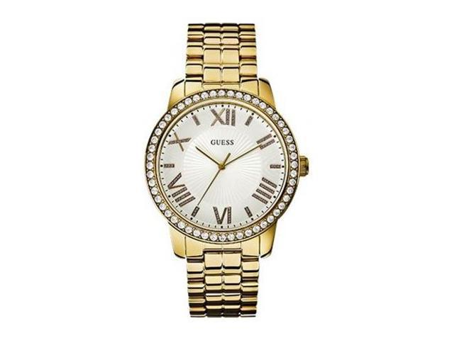 Guess Women's Gold Plated Stainless Steel Mineral Glass Crystals Watch W0329L2